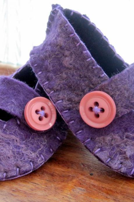 Purple Baby Booties - Merino and Silk -
