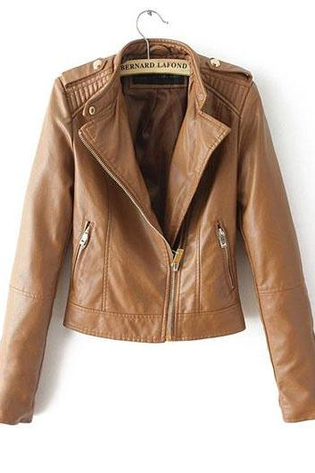 Stylish Brown Leather Moto Jacket Featuring Side Zipper Pockets