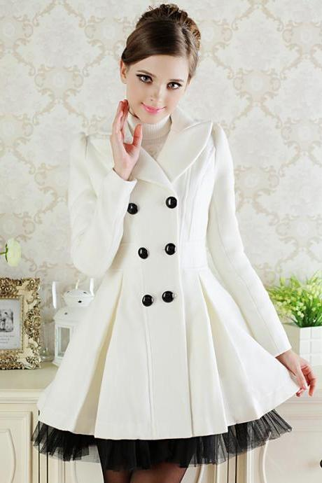 High Quality Women's White Skater Woolen Coat With Detachable Mesh Hem