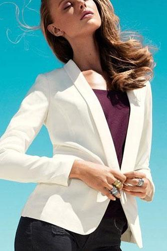 Shawl Lapel Business Suit Tunic Open Front Blazer Jacket Coat