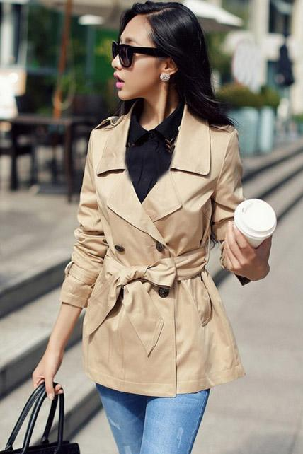 Women Essential Trench Coat With Belt For Autumn Spring - Khaki