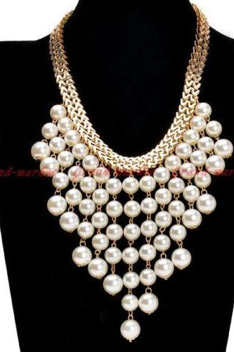 Gold Chain White Pearl Beads Charm Cluster Collar Statement Bib Necklace