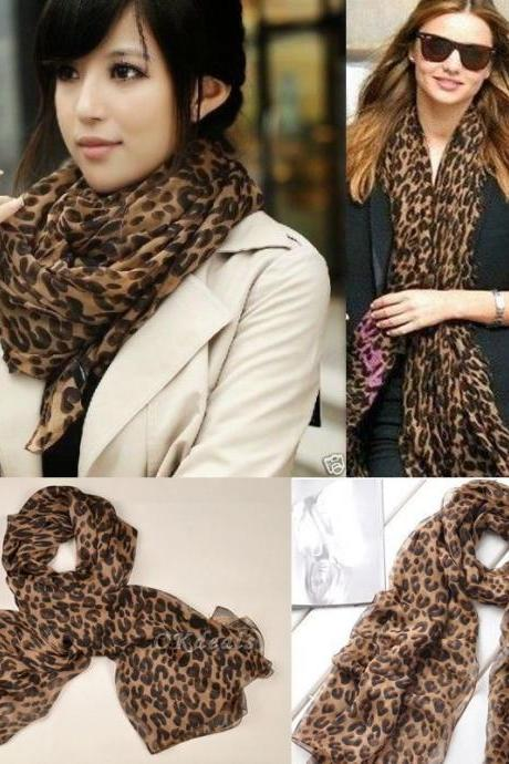 Fashion Long Style Wrap Lady Shawl Leopard Chiffon Scarf Scarves