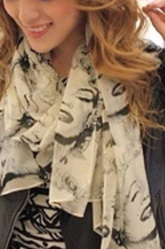 Fashion Long Style Wrap Lady Shawl Chiffon Scarf Scarves / monroe scarf print