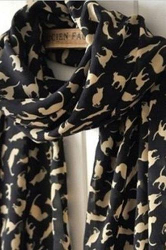 Fashion Long Style Wrap Lady Shawl Chiffon Scarf Scarves / cat print