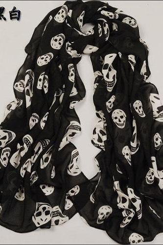 Fashion Long Style Wrap Lady Shawl Chiffon Scarf Scarves / skull print / black