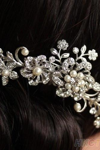 Crystal Pearls Hair Comb Womens Bridal Wedding Hair Clip