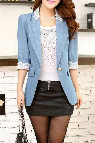 Fashion Lace Spliced 3/4 Sleeve One Button Lady Workwear Suit