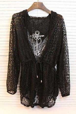 Leisure Anchor Letters Print Hooded Lace Outerwear