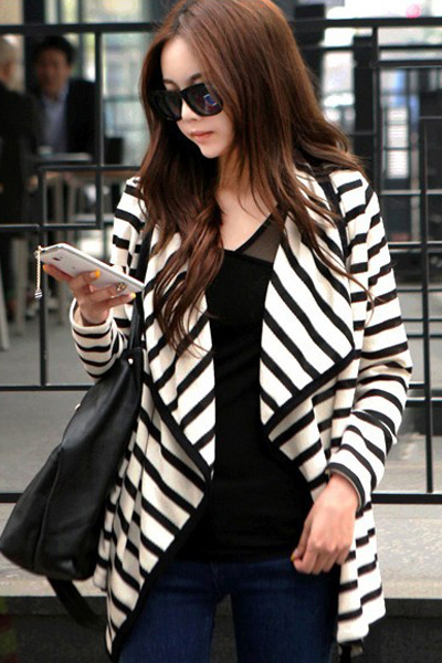 New Style Woman Long Sleeve Stripe Cotton Coat