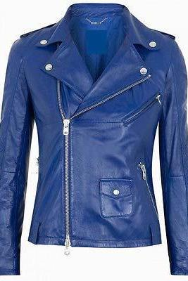 WOMEN BIKER LEATHER JACKET WOMEN'S LEATHER JACKET BLUE COLOR JACKET
