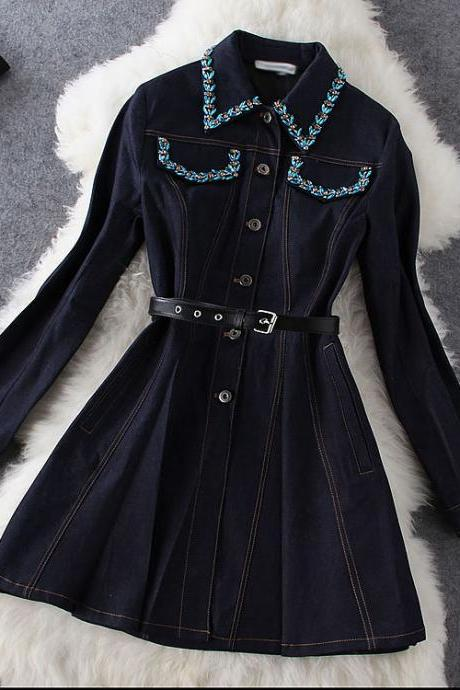 Beaded Long-sleeved Denim Dress