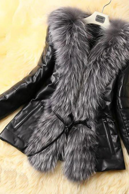 Black Leather Jacket For Women With Genuine Fox Fur