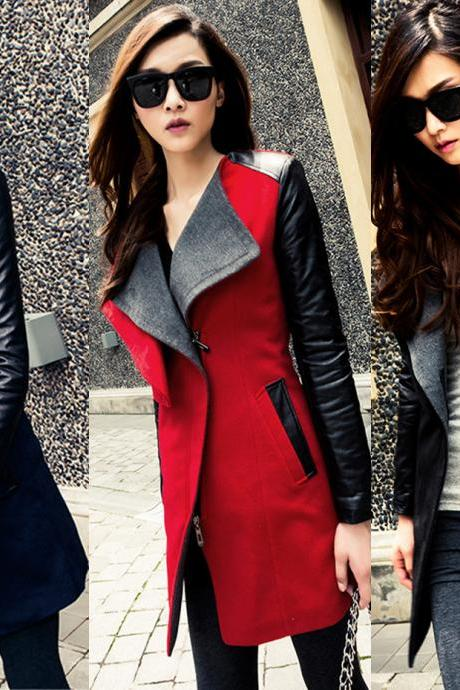 Faux Leather Sleeves Big Lapels Slim Coat