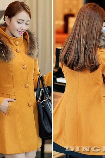 Winter Fur Trim Slim Thicken Woolen Pocket Over Coat Casual Jacket Outwear Size S M L Women Dress Women Cloth