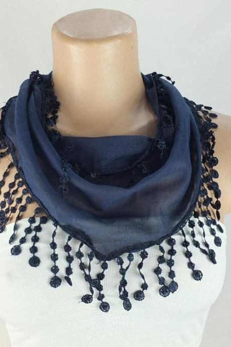 Navy blue scarf, cotton scarf,cowl with polyester trim,neckwarmer, scarf necklace, foulard,navy blue scarflette,Christmas gift for her