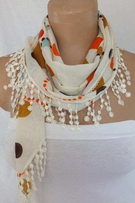 Cream color dots scarf, fringed fashion scarf, cowl with lace trim,summer scarf, bib scarf , foulard,scarflette,