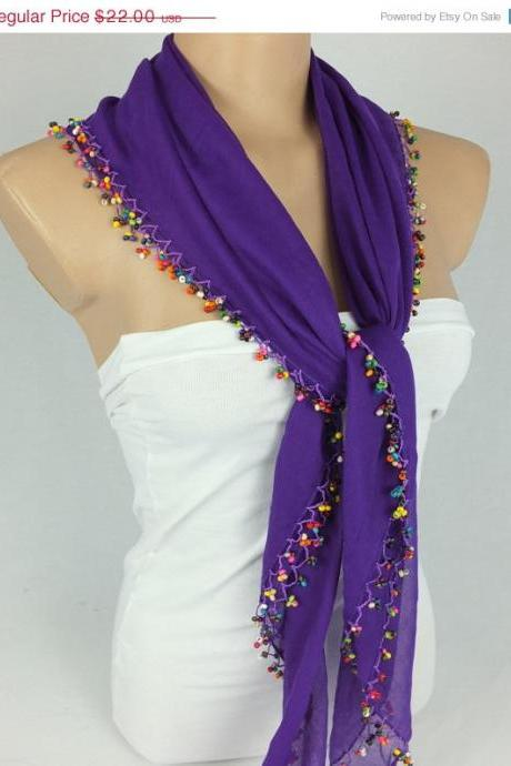 Purple scarf with crocheted bead edges, Square head scarf,traditional Turkish scarf shawl, gift for her,