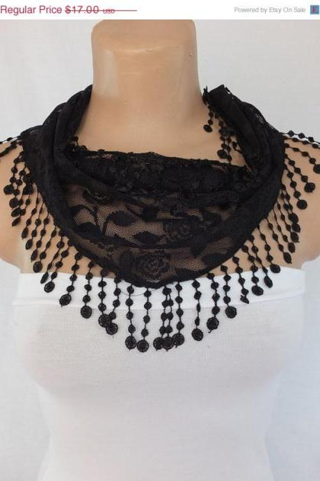 Black lace scarf , black cowl with lace trim,summer scarf, neck scarf, foulard,scarflette,bandana