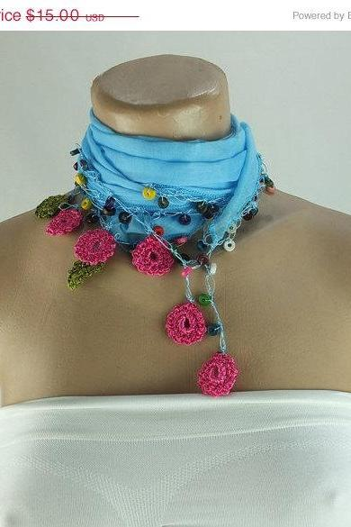 Light blue scarf with crochet flower edges ,scarflette , cowl with crochet flowers , scarf necklace, cotton blue foulard, gift for her