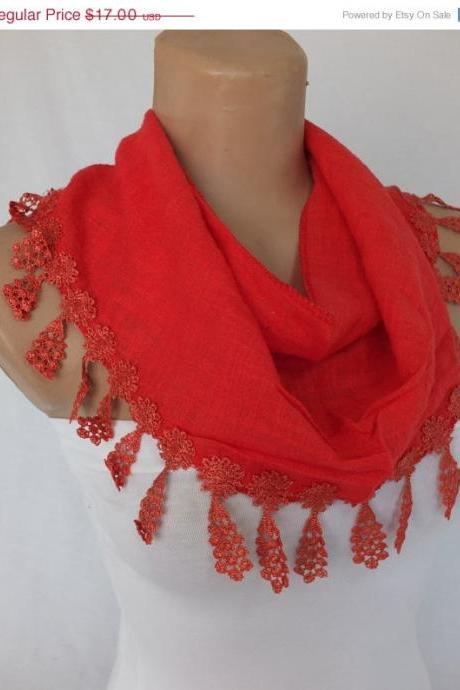 Red cotton scarf, cowl with lace flower trim,women accessory,neckwarmer, foulard,scarflette
