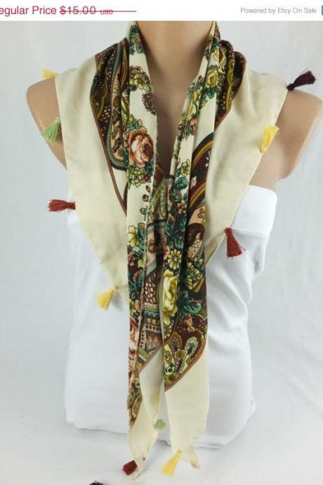 Multicolor floral scarf shawl, cowl with tassel trim , fashion winter scarf, gift for her