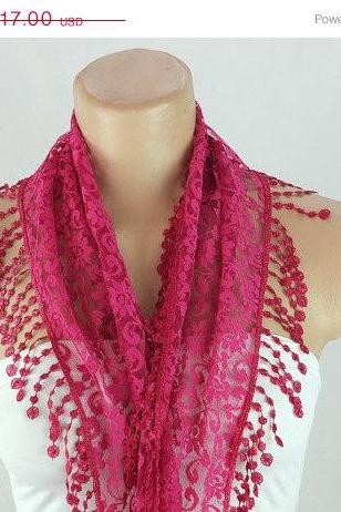 Fuchsia lace scarf , cowl with lace trim,summer scarf, neck scarf, foulard,scarflette,bandana, hot pink scarf, gift ideas for her