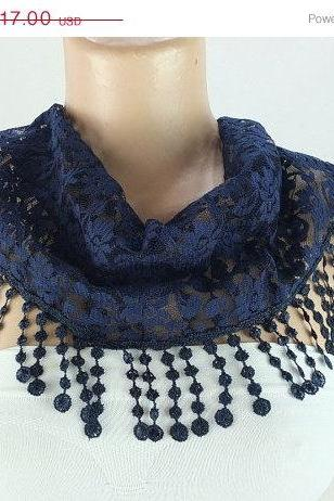 Navy blue lace scarf , cowl with lace trim,summer scarf, neck scarf, foulard,scarflette,bandana, hot pink scarf, gift ideas for her