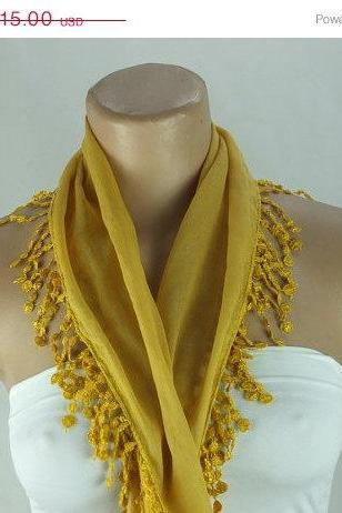Mustard yellow scarf, fashion scarf, cotton scarf, cowl with polyester trim,neckwarmer, scarf necklace, foulard,scarflette,