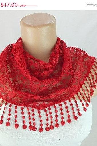 Dark Red lace scarf , cowl with lace trim,summer scarf, neck scarf, foulard,scarflette,bandana