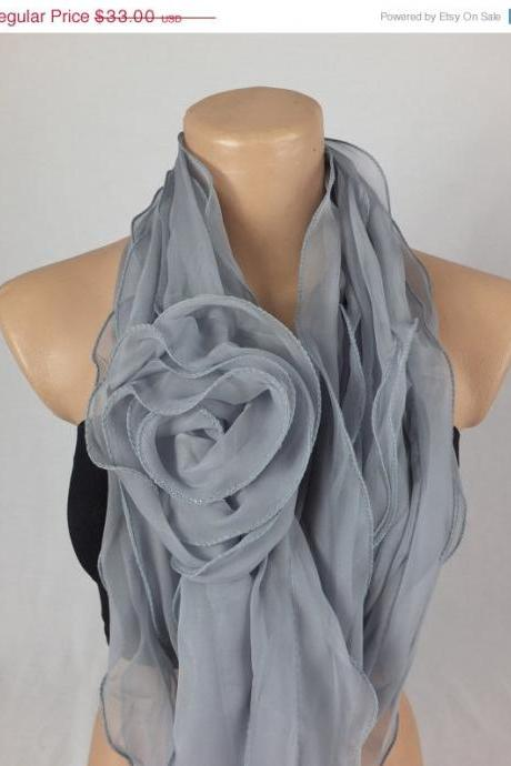 Blue-Gray Scarf Shawl, 3d rose scarf shawl, ruffled woman scarf, Christmas gift, gift for her