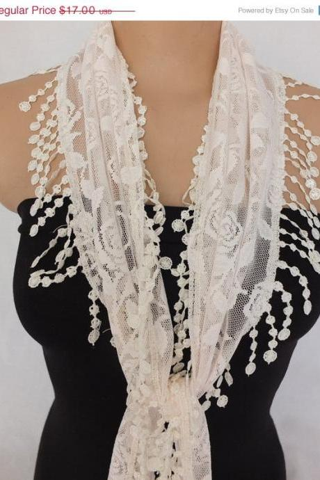 Champagne color lace scarf , cowl with lace trim, bridal scarf ,summer scarf, neck scarf, foulard,scarflette,bandana