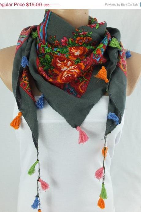 Floral gray scarf shawl, cowl with tassel trim , fashion winter scarf, gift for her