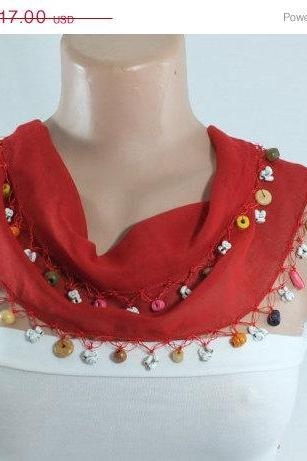 Dark red scarf, cotton scarf , cowl with beaded edges , ,scarf necklace, foulard,scarflette,teachers gift