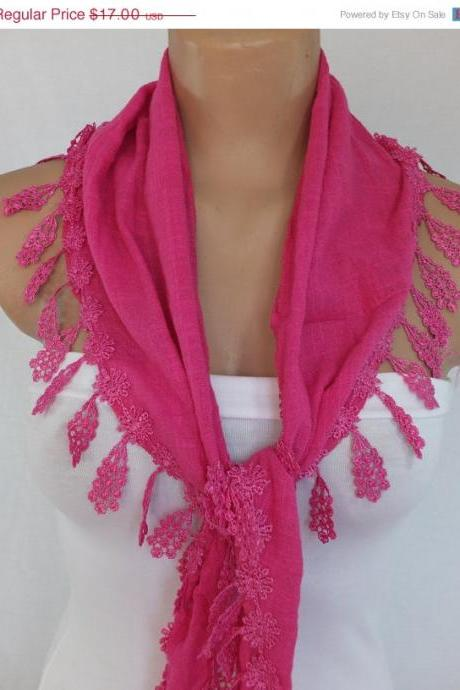 Pink cotton scarf, cowl with lace flower trim,women accessory,neckwarmer, foulard,scarflette