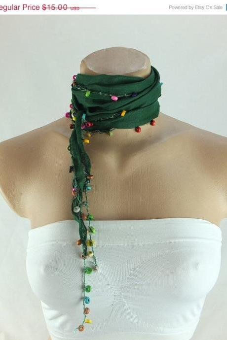 Green scarf, Beaded scarf, green cotton cowl, scarflette, cotton foulard, neckwarmer, scarf necklace, foulard,gift ideas for her