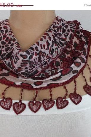 Pink-maroon chiffon scarf, Trendy fashion scarf, cowl with heart trim,women accessory,, scarf necklace, foulard,scarflette,