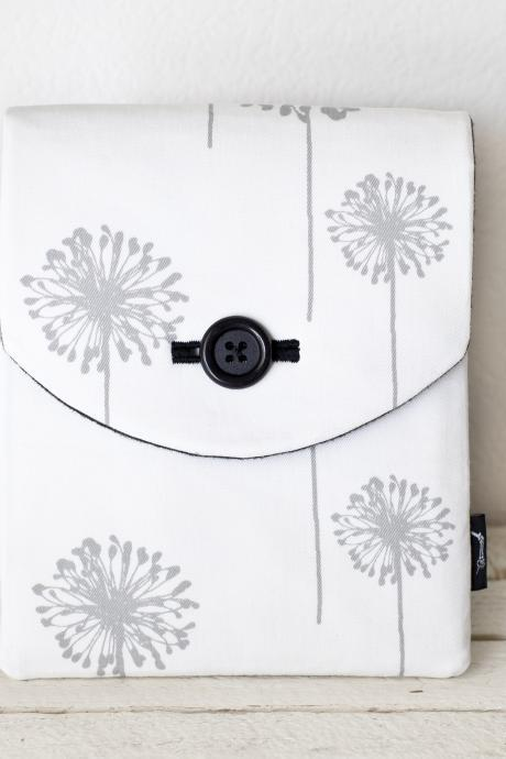 iPad Case - Dandelions Flowers Grey White - Padded with Pocket
