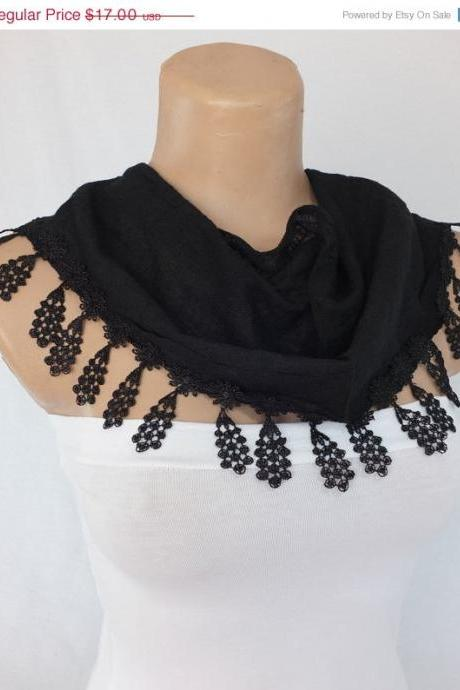 Black cotton scarf, cowl with lace flower trim,women accessory,neckwarmer, foulard,scarflette