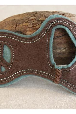 Felt Cuff Peace - Brown and Turquoise Wrist Warmers, Bracelet, Cut Out Peace Sign