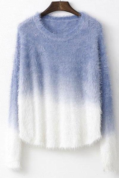 Gradient Color Mohair Sweater