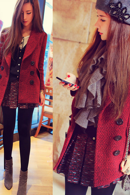 2014 Winter energy-saving double breasted wool female coat woolen coat