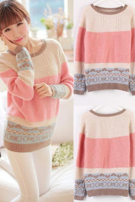 Sweet Pastel Color-blocked Sweater