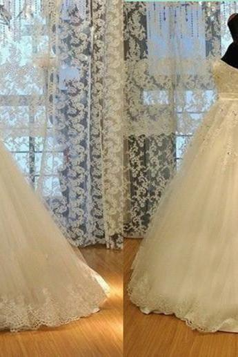new sexy new elegant lace modest Sweetheart long train white/Ivory beading backless off shoulder Wedding Dress prom / evening dress Bridal Gown D11