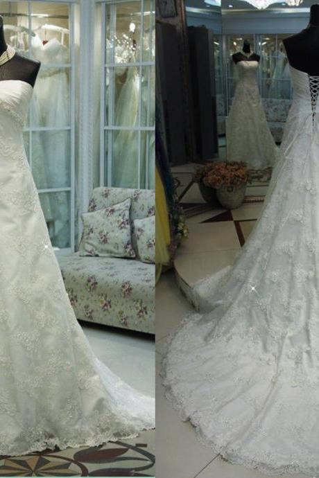 Custom 2014 new elegant modest A line long white/Ivory beading backless Wedding Dress prom / evening dress Bridal Gown D5