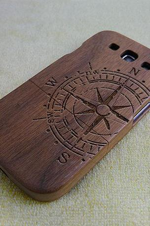 Wood phone case, Wood Samsung Galaxy S3 case, natural wood Galaxy S3 case, Compass, real wood, Walnut,