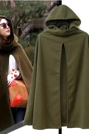Army Green Cashmere Wool Poncho Coat Oversized Hooded Winter Woolen Cloak Cape Jacket For Women