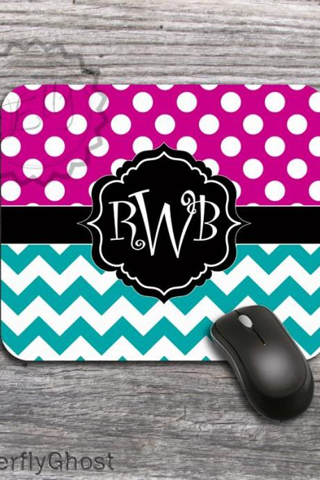 Polka Dots and Chevron Mousepad - Hot pink and Teal for Computer Mouse Pad, personalized desk accessory