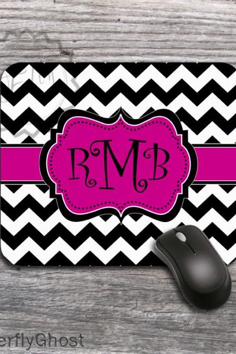 Monogrammed Black and White Mousepad - Magenta Ribbon computer mat, personalized office desk accessory