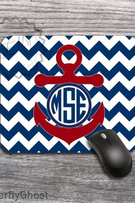 Nautical Computer Mouse Pad - Anchor designed layout, desk accessory gift, customized mat